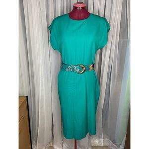 1980's shift dress statement belt sz 12